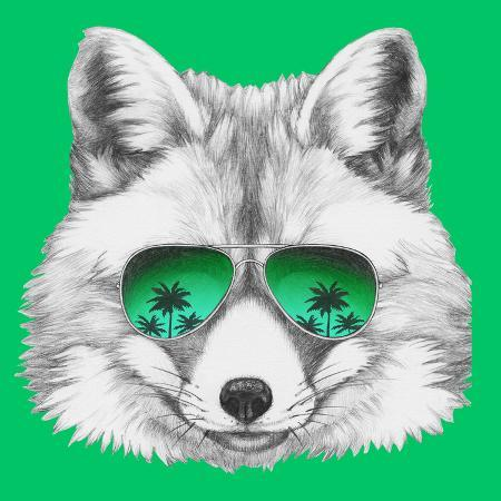 victoria-novak-original-drawing-of-fox-with-mirror-glasses-isolated-on-colored-background