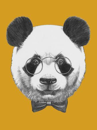 victoria-novak-original-drawing-of-panda-with-glasses-and-bow-tie-isolated