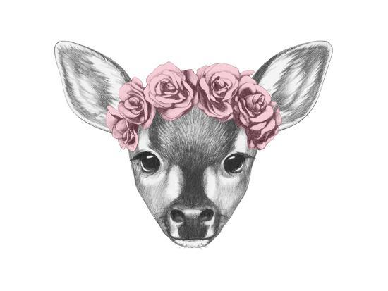 victoria-novak-portrait-of-fawn-with-floral-head-wreath-hand-drawn-illustration