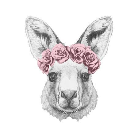 victoria-novak-portrait-of-kangaroo-with-floral-head-wreath-hand-drawn-illustration