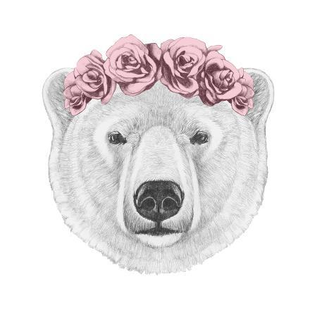 victoria-novak-portrait-of-polar-bear-with-floral-head-wreath-hand-drawn-illustration