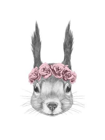 victoria-novak-portrait-of-squirrel-with-floral-head-wreath-hand-drawn-illustration