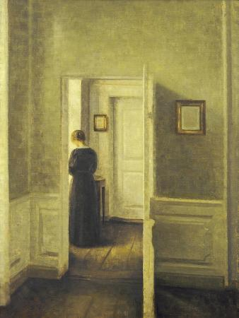 vilhelm-hammershoi-an-interior-with-a-woman-painted-in-1913