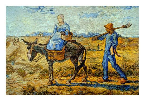 vincent-van-gogh-morning-with-farmer-and-pitchfork-his-wife-riding-a-donkey-and-carrying-a-basket
