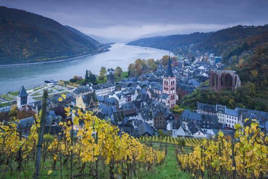 walter-bibikow-germany-rheinland-pfalz-bacharach-elevated-town-view-autumn