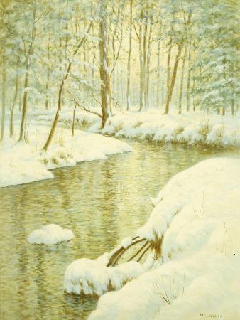 walter-launt-palmer-winter-stream-sunset-glow