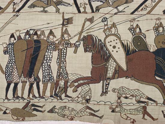 walter-rawlings-king-harold-s-foot-soldieres-with-spears-and-battle-axes-bayeux-tapestry-normandy-france