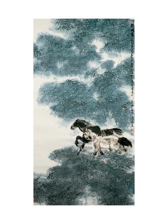 wanqi-zhang-twin-horses-in-bamboo-forest