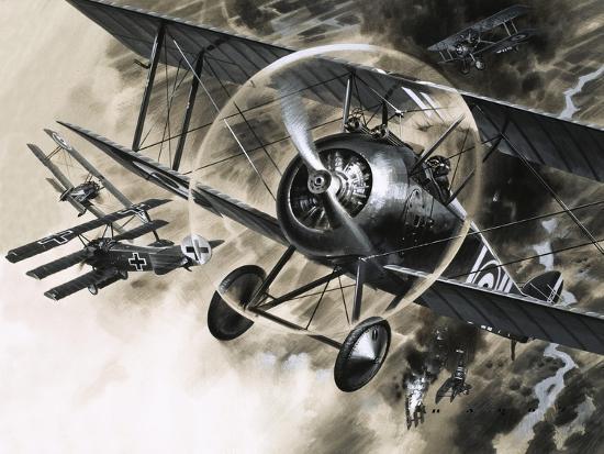 wilf-hardy-unidentified-dog-fight-between-british-biplanes-and-a-german-triplane