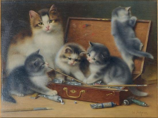 wilhelm-schwar-mother-cat-and-her-kittens-playing-in-a-paint-box