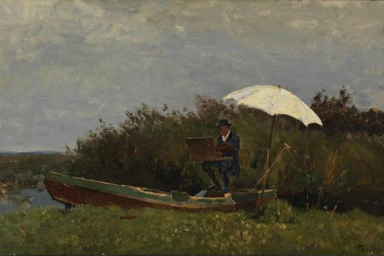 willem-bastiaan-tholen-the-painter-gabriel-working-in-a-boat-1882