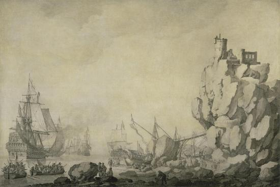willem-van-de-velde-the-elder-ships-and-militia-by-a-rocky-shore-c-1680-pen-and-ink-on-prepared-canvas