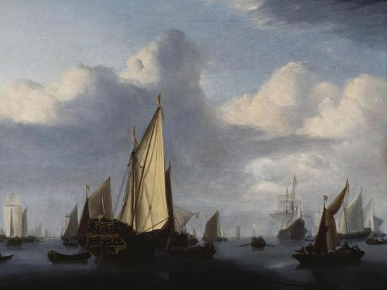 willem-van-de-velde-the-younger-seascape-with-a-states-yacht-and-other-shipping-in-a-calm-1654