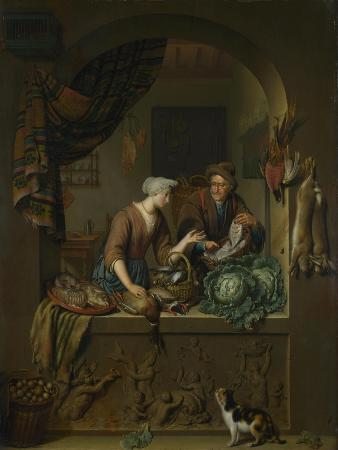 willem-van-mieris-a-woman-and-a-fish-pedlar-in-a-kitchen-1713