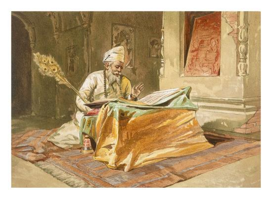 william-crimea-simpson-sikh-priest-reading-the-grunth-umritsar-from-india-ancient-and-modern-1867-colour-litho
