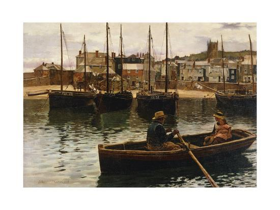 william-h-bartlett-the-harbour-st-ives-cornwall-1885