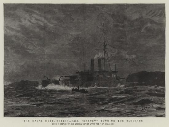 william-lionel-wyllie-the-naval-mobilisation-h-m-s-rodney-running-the-blockade
