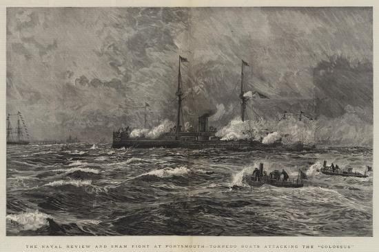 william-lionel-wyllie-the-naval-review-and-sham-fight-at-portsmouth-torpedo-boats-attacking-the-colossus