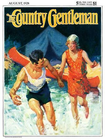 william-meade-prince-camping-couple-goes-swimming-country-gentleman-cover-august-1-1928