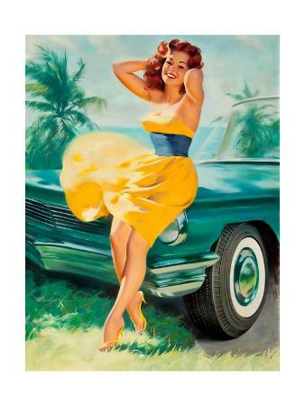 william-medcalf-pin-up-in-yellow-dress-1950s