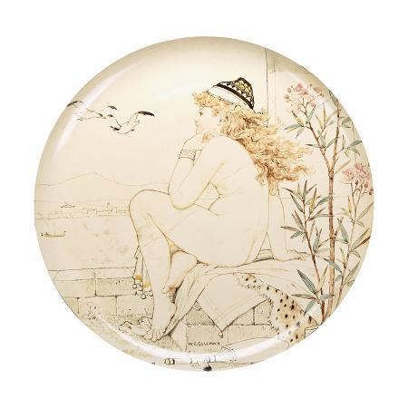 william-stephen-coleman-a-minton-art-pottery-studio-charger-painted-with-a-nude-staring-out-to-sea-19th-century