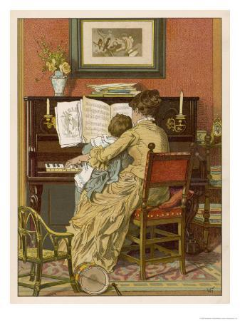 woldemar-friedrich-german-mother-and-child-at-the-piano