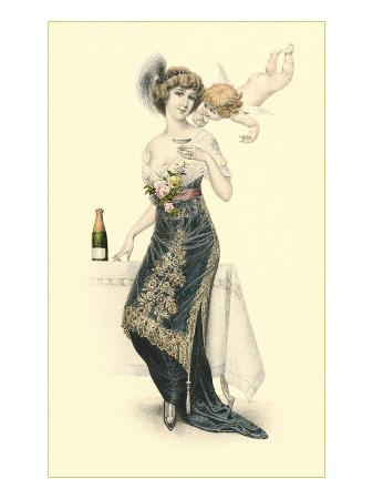 woman-sampling-champagne-with-cupid