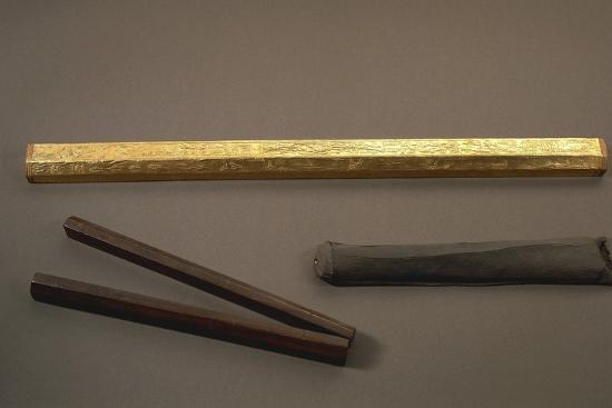 wood-gilded-cubit-and-wood-folding-cubit-with-leather-case-offer-of-the-pharaoh-amenhotep-iii