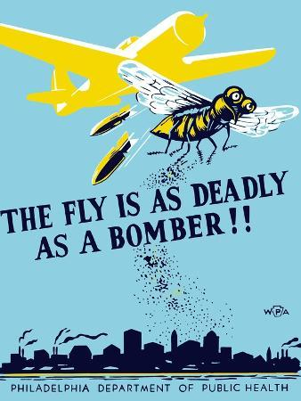 wpa-propaganda-poster-of-a-bomber-plane-and-a-fly-dropping-germs