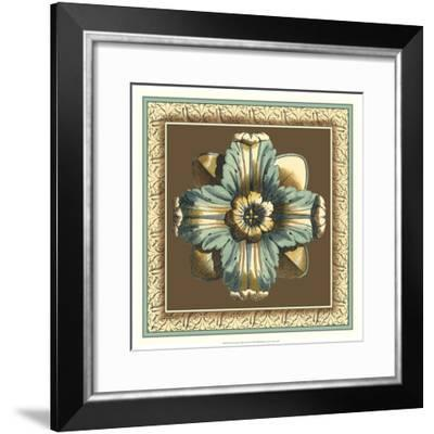 Printed Chocolate and Blue Rosette II-Vision Studio-Framed Art Print