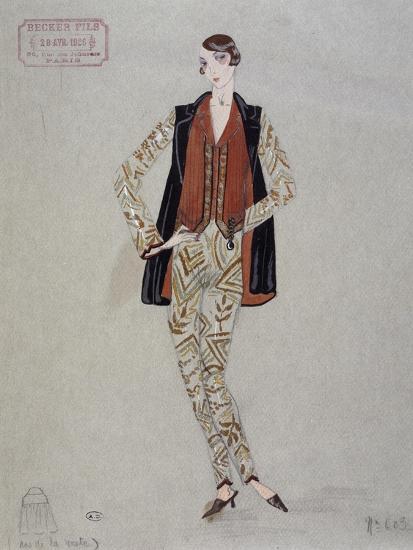 Printed Shirt, Pants and Waistcoat, Model by Becker Fils - Paris, 1926, Watercolour, France--Giclee Print