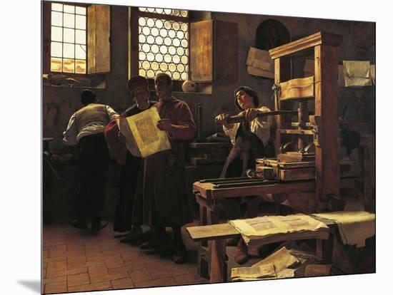 Printer Bernardo Cennini in His Workshop, 1906-Tito Lessi-Mounted Giclee Print