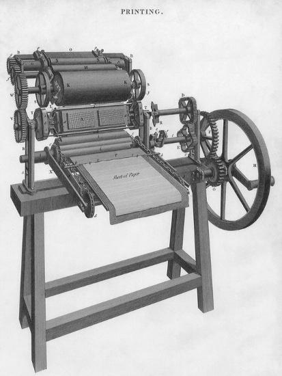 Printing Press--Giclee Print