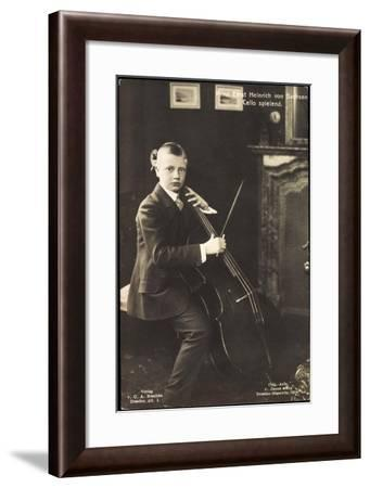 Prinz Ernst Heinrich V Sachsen, Cello Spielend--Framed Giclee Print