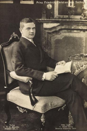 Prinz Friedrich Christian Von Sachsen Mit Buch--Giclee Print