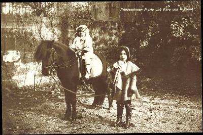 Prinzessinnen Marie Und Kyra Von Rußland Mit Pony--Giclee Print