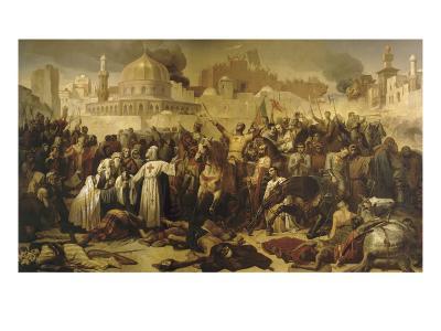 Prise de Jérusalem par les croisés, 15 juillet 1099 (Godefroy de Bouilon rendant grâce à Dieu en-Emile Signol-Giclee Print