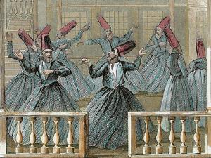 Dance of the Sufi Dervishes, 19th Century Colored Engraving by Prisma Archivo