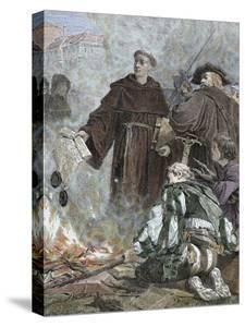 German Reformer, Luther Burning the Papal Bull 'Exsurge Domine' (1520) of Pope Leo X by Prisma Archivo