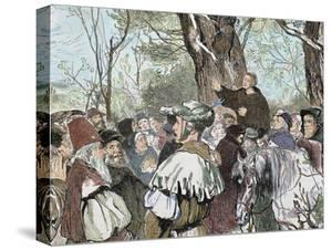 German Reformer, Luther's Preaching to the Crowd in Moera. Colored Engraving from 1882 by Prisma Archivo