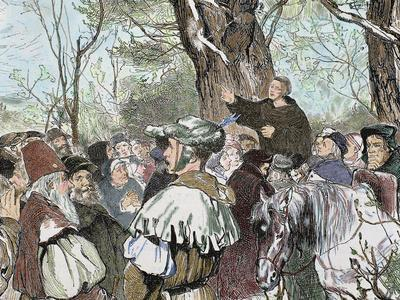 German Reformer, Luther's Preaching to the Crowd in Moera. Colored Engraving from 1882