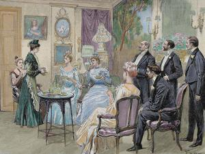 Meeting of Aristocratic Families in the Living Room. Colored Engraving by George Scott, 1892 by Prisma Archivo