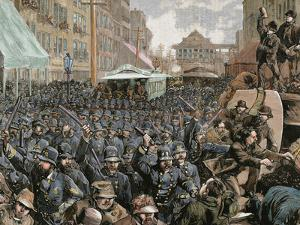 Police Officers Dispersing the Strike of Employees of Streetcar in New York, Usa, March 4, 1886 by Prisma Archivo