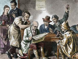 Reading the Newspaper in the Tavern, Colored Engraving, 1876. by Prisma Archivo