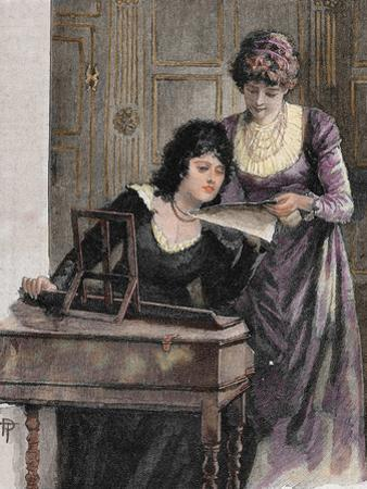 Women with a Harpsichord. Colored Engraving, 1895