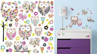 Prisma Owls & Butterflies Peel and Stick Wall Decals--Wall Decal