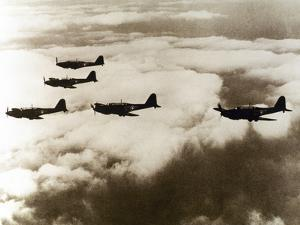 World War Ii (1939-1945), a Squad of British Aircraft Model Spitfire Flying, (October 1939) by Prisma