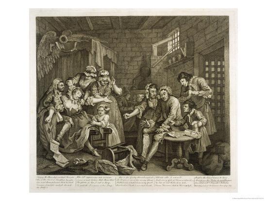 Prisoners in Newgate Prison-William Hogarth-Giclee Print