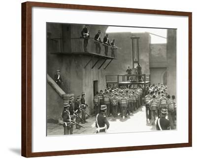 Prisoners Prepare for Execution by Guillotine--Framed Photo