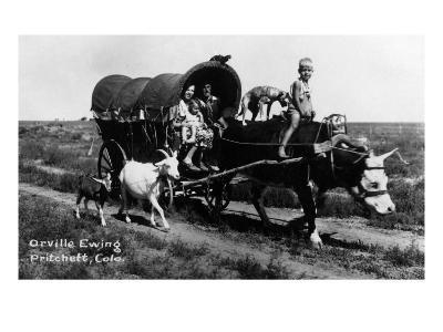 Pritchett, Colorado - Orville Ewing; Covered Wagon Scene-Lantern Press-Art Print